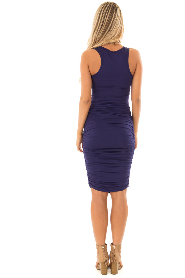 Navy Midi Dress with Side Ruching back full body