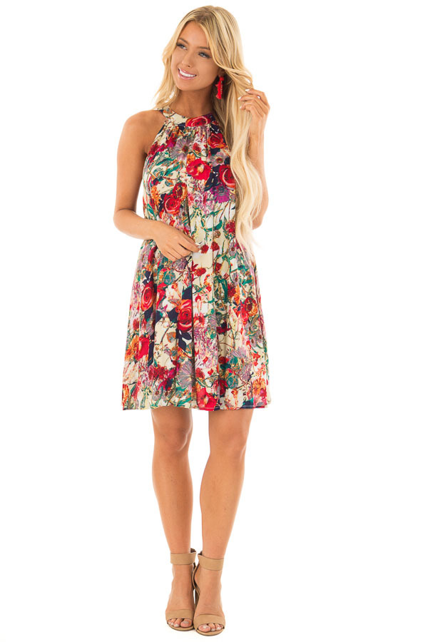 Multicolor Floral Print Tank Top Swing Dress front full body
