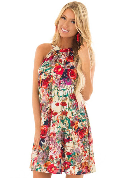 Multicolor Floral Print Tank Top Swing Dress front close up