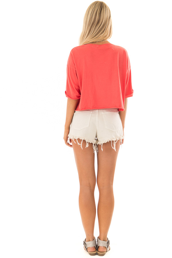 Coral 'Venice Beach' Zip Up Short Sleeve Top back full body