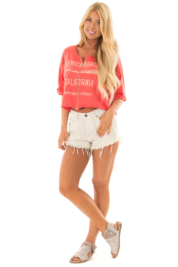 Coral 'Venice Beach' Zip Up Short Sleeve Top front full body