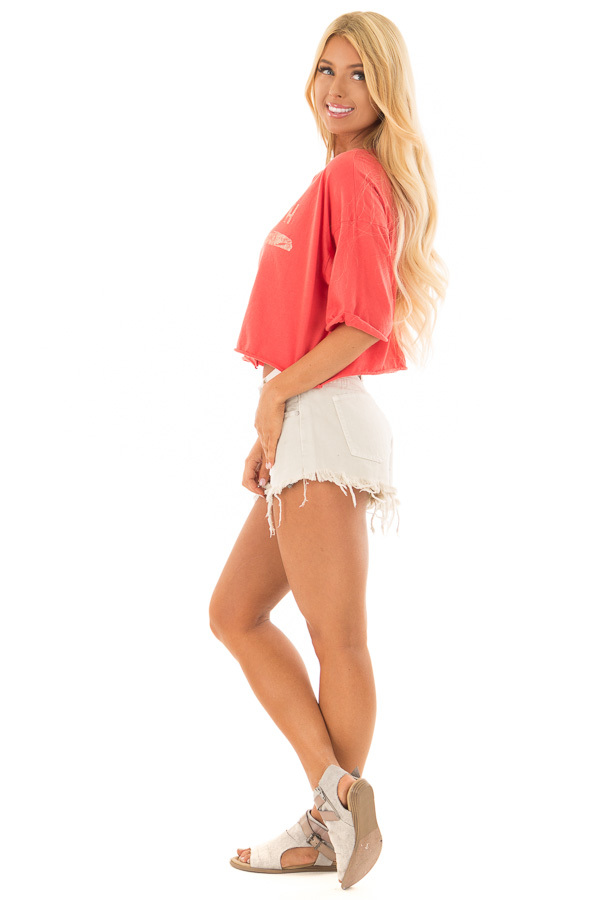 Coral 'Venice Beach' Zip Up Short Sleeve Top side full body