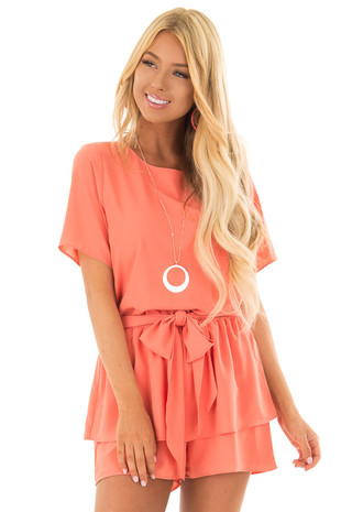Salmon Short Sleeve Romper with Tie Detail front close up