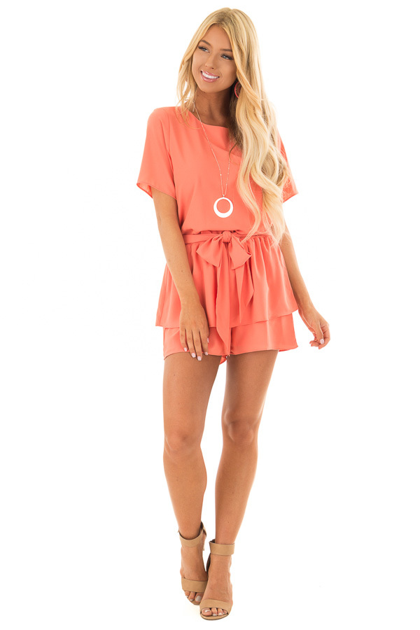 Salmon Short Sleeve Romper with Tie Detail front full body