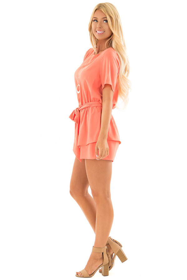 Salmon Short Sleeve Romper with Tie Detail side full body