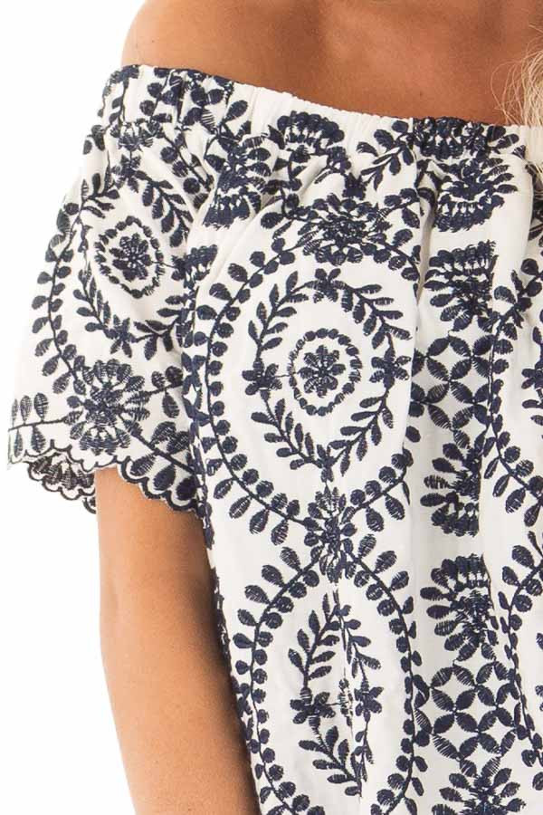 Navy Embroidery Off the Shoulder Scalloped Detail Dress detail