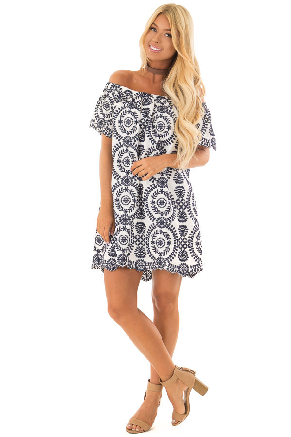 Navy Embroidery Off the Shoulder Scalloped Detail Dress front full body