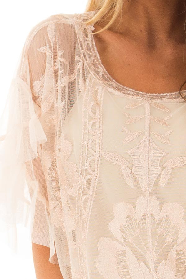 Rose Gold Floral Embroidered Short Sleeve Sheer Top detail