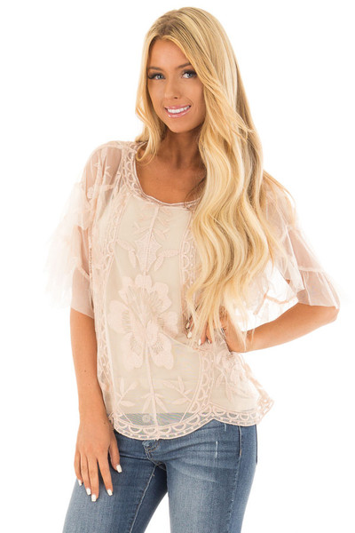Rose Gold Floral Embroidered Short Sleeve Sheer Top front close up