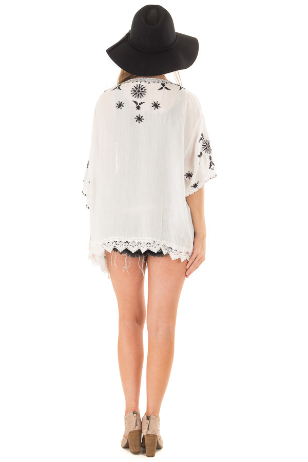Off White Embroidered Open Kimono with Lace Hem Accent back full body