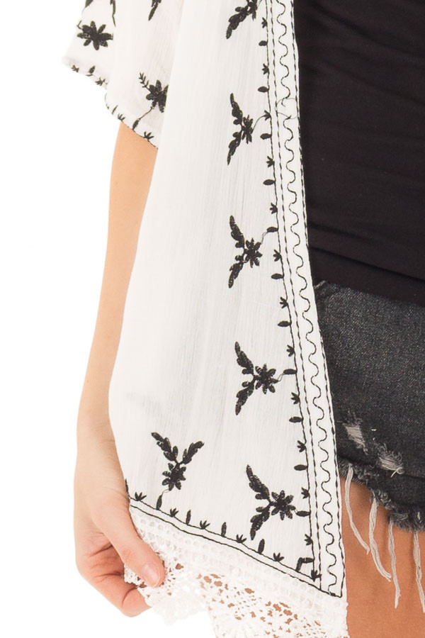 Off White Embroidered Open Kimono with Lace Hem Accent detail