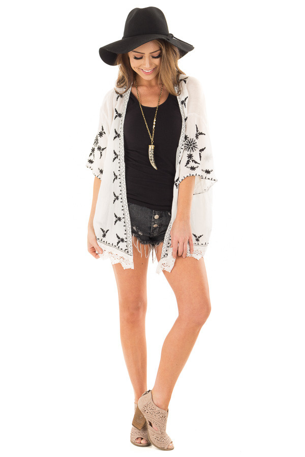 Off White Embroidered Open Kimono with Lace Hem Accent front full body