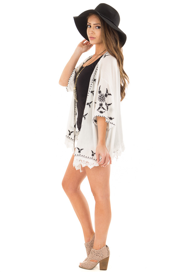 Off White Embroidered Open Kimono with Lace Hem Accent side full body
