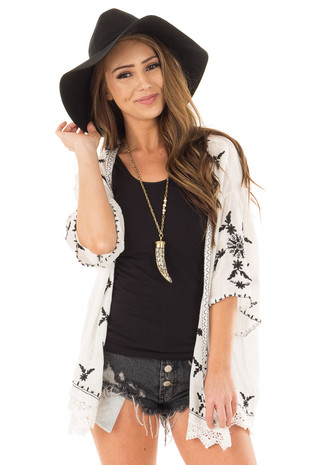 Off White Embroidered Open Kimono with Lace Hem Accent front close up