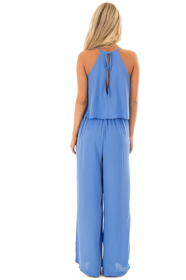 Sky Blue Halter Jumpsuit with Pleated Neckline back full body