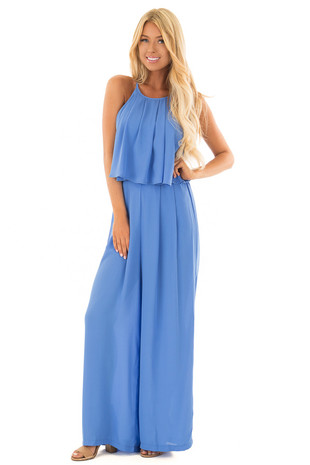 Sky Blue Halter Jumpsuit with Pleated Neckline front full body