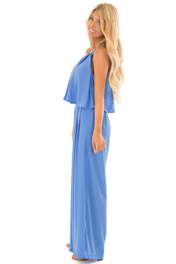 Sky Blue Halter Jumpsuit with Pleated Neckline side full body