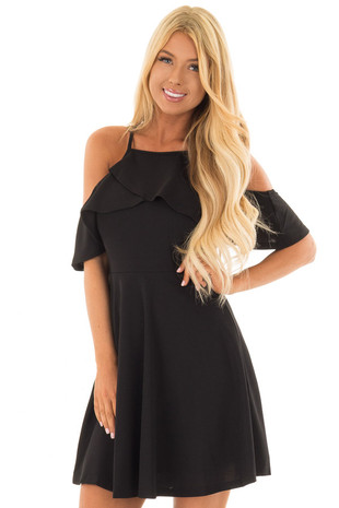 Black Cold Shoulder Short Sleeve Dress with Ruffle Detail front close up