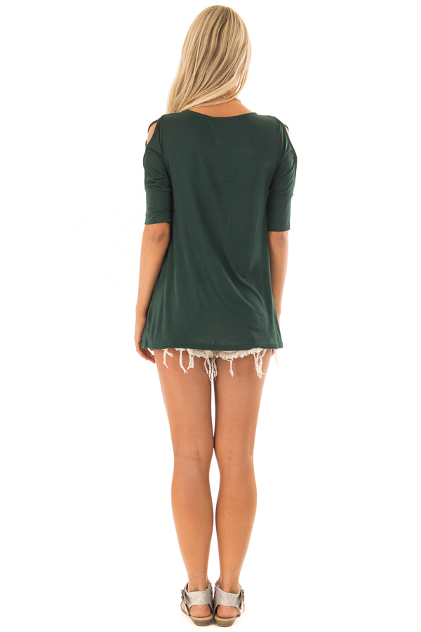 Hunter Green Top with Caged Cut Out Sleeves back full body