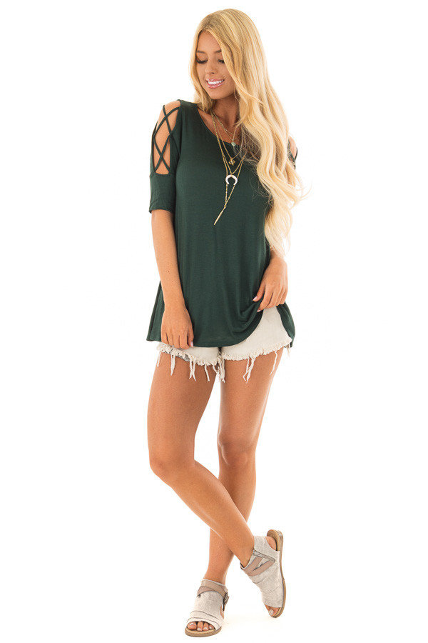 Hunter Green Top with Caged Cut Out Sleeves front full body
