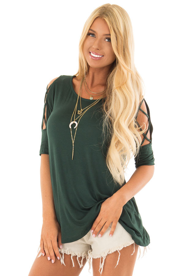 Hunter Green Top with Caged Cut Out Sleeves front close up