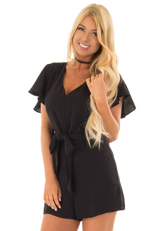 Black Short Sleeve Romper with Waist Tie front close up