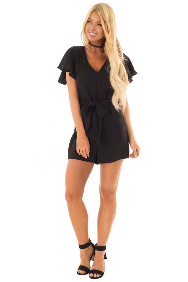 Black Short Sleeve Romper with Waist Tie front full body