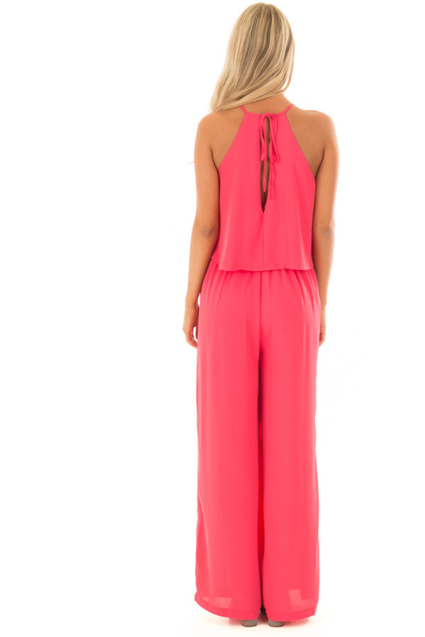 Rose Halter Jumpsuit with Pleated Neckline back full body