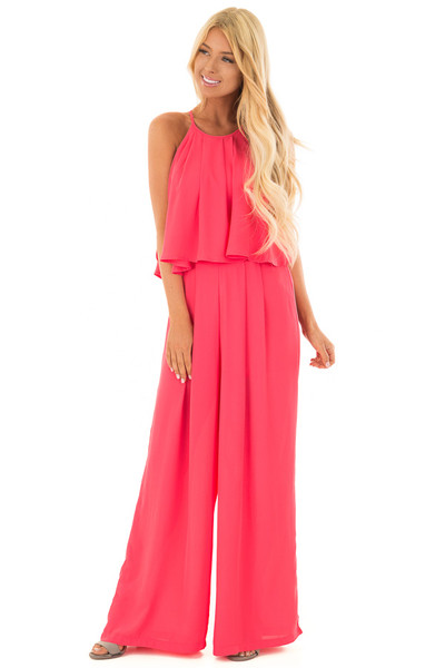 Rose Halter Jumpsuit with Pleated Neckline front full body