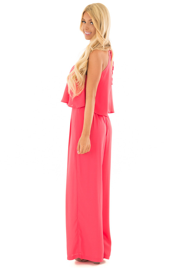 Rose Halter Jumpsuit with Pleated Neckline side full body