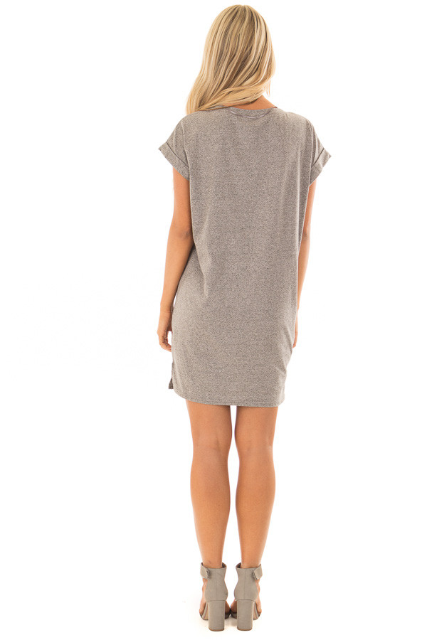 Heather Grey Two Tone Tee Shirt Dress with Cuffed Sleeves back full body