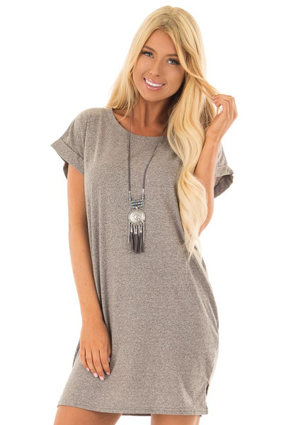 Heather Grey Two Tone Tee Shirt Dress with Cuffed Sleeves front close up