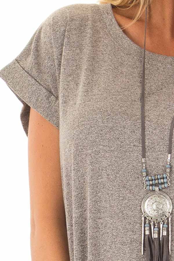 Heather Grey Two Tone Tee Shirt Dress with Cuffed Sleeves detail