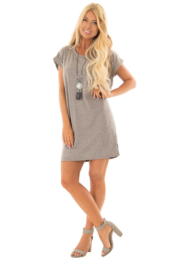 Heather Grey Two Tone Tee Shirt Dress with Cuffed Sleeves front full body