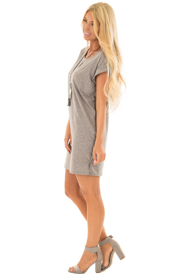 Heather Grey Two Tone Tee Shirt Dress with Cuffed Sleeves side full body