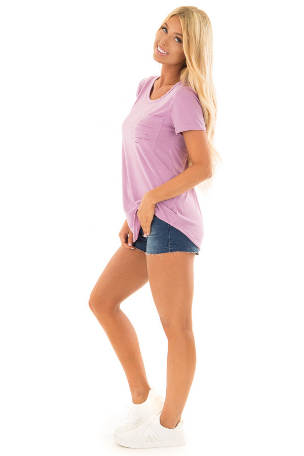 Lavender Short Sleeve Tee with Distressed Front Pocket side full body