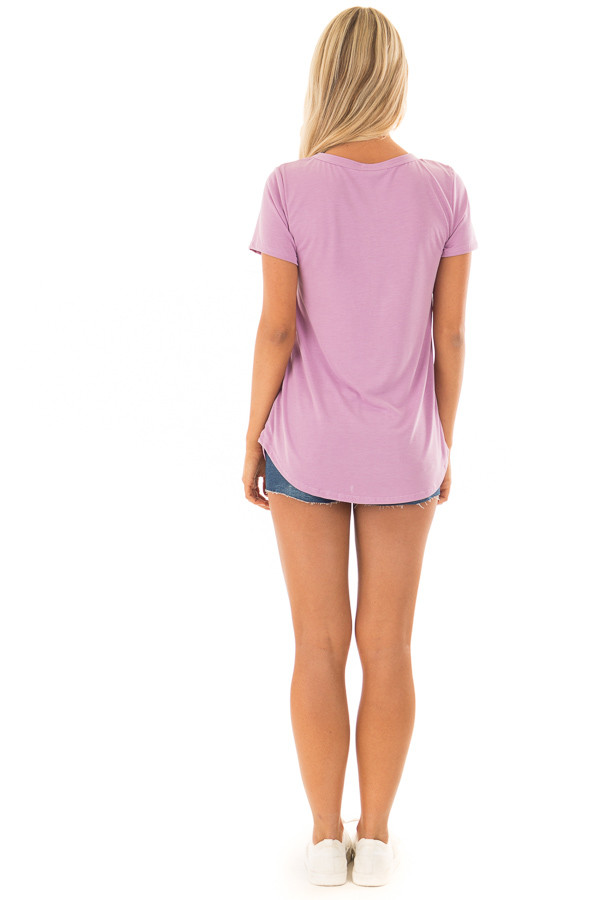 Lavender Short Sleeve Tee with Distressed Front Pocket back full body