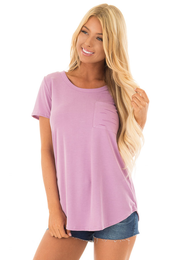 Lavender Short Sleeve Tee with Distressed Front Pocket front close up