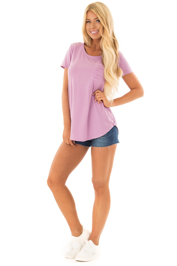 Lavender Short Sleeve Tee with Distressed Front Pocket front full body