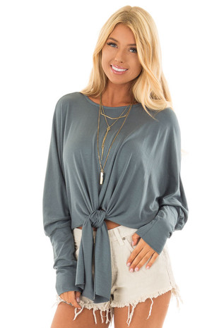 Deep Teal Crop Top with Front Tie and Dolman Sleeves front close up
