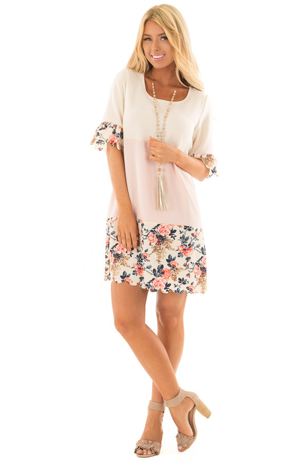 Cream and Blush Color Block Dress with Floral Contrast front full body