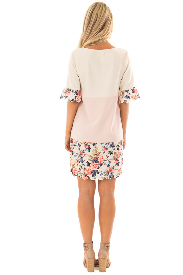 Cream and Blush Color Block Dress with Floral Contrast back full body