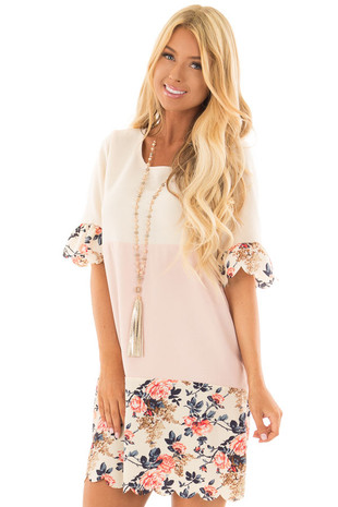 Cream and Blush Color Block Dress with Floral Contrast front close up