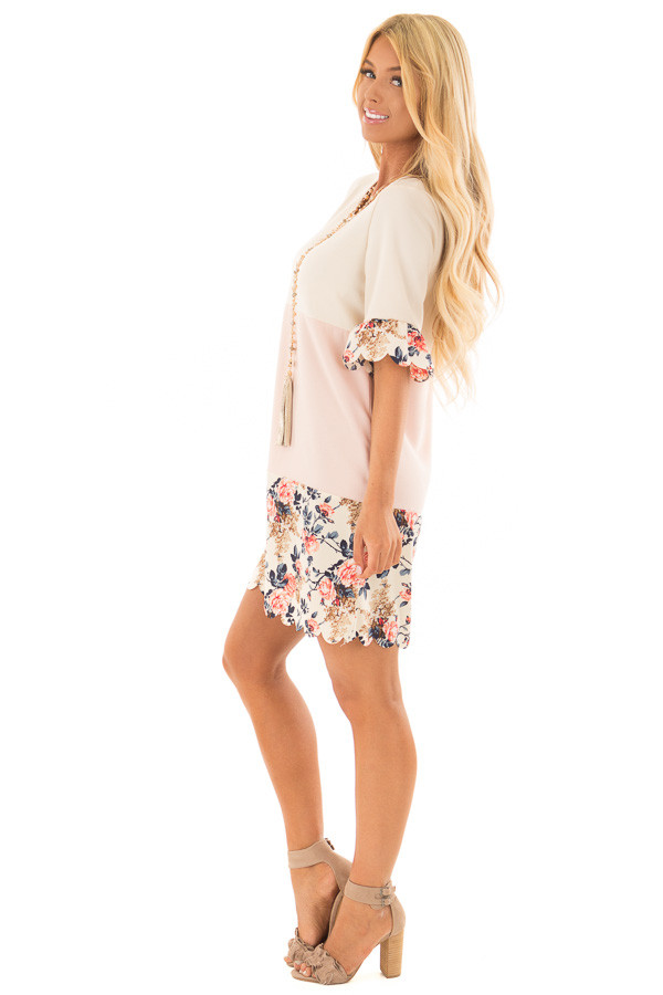 Cream and Blush Color Block Dress with Floral Contrast side full body