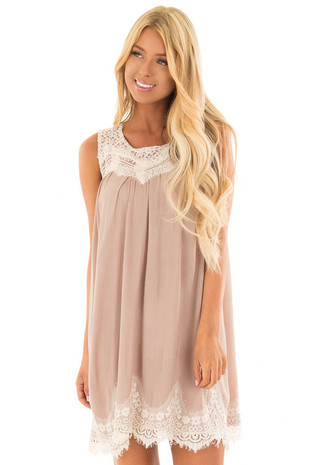 Latte Swing Dress with Sheer Lace Yoke front close up