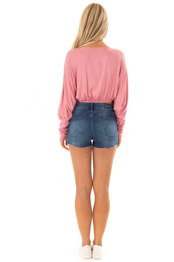 Rose Crop Top with Front Tie and Dolman Sleeves back full body