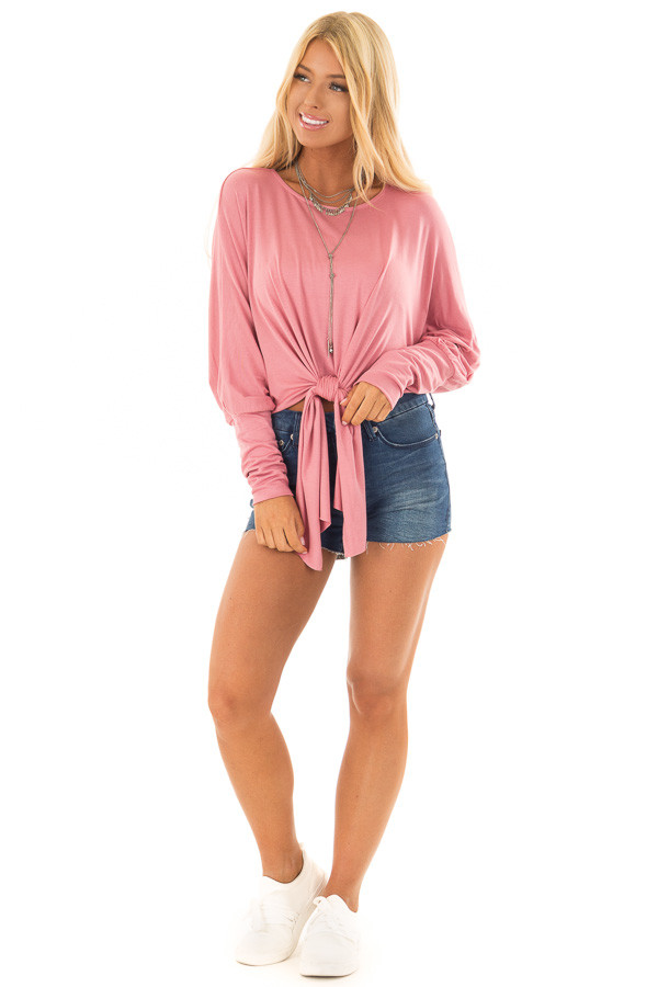 Rose Crop Top with Front Tie and Dolman Sleeves front full body