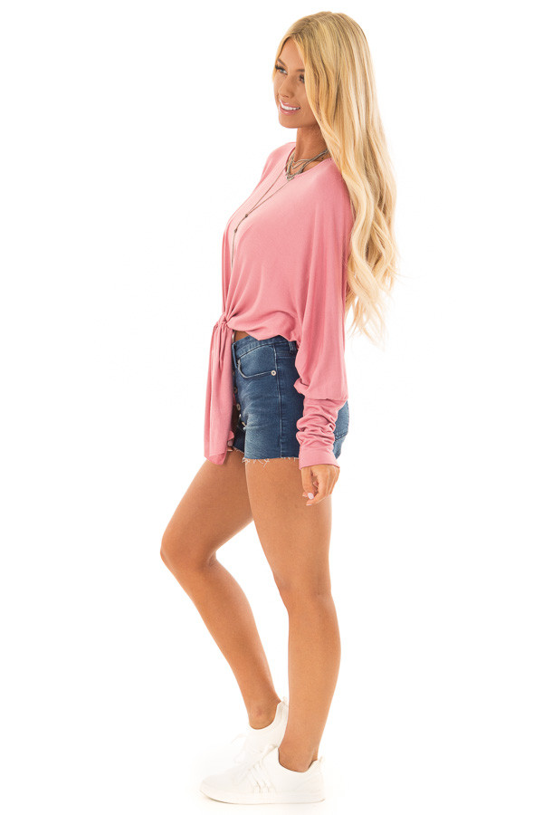 Rose Crop Top with Front Tie and Dolman Sleeves side full body