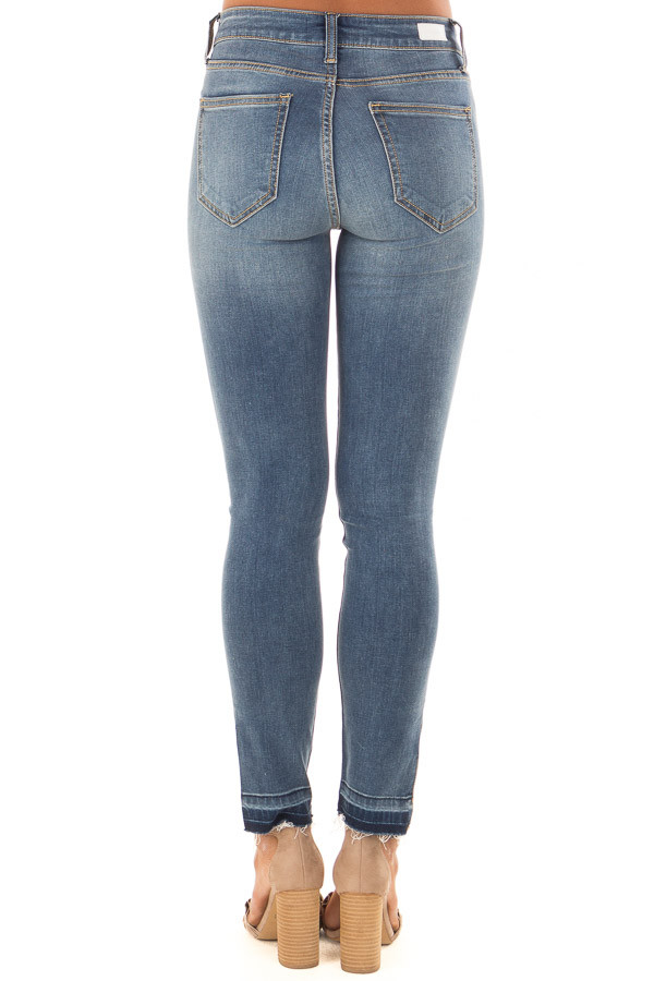 Medium Wash High Rise Skinny Jeans with Side Slit back view