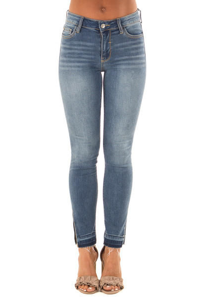 Medium Wash High Rise Skinny Jeans with Side Slit front view